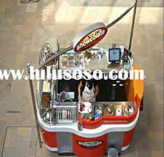 Stainless Steel Mobile Food Snack Service Kiosk Cart with wheels