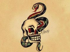 Snake And Skull Sailor Jerry T is listed (or ranked) 20 on the list Sailor Jerry Tattoo Ideas Traditional Tattoo Design, Traditional Ink, Traditional Tattoo Flash, Traditional Tattoo Skull And Snake, American Traditional, Vintage Tattoo Art, Vintage Tattoo Design, Sailor Jerry Tattoo Flash, Sailor Tattoos
