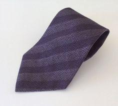 Albert Nipon Neck Tie Purple Stripe 100% Silk #AlbertNipon #NeckTie