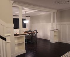 craftsman style room divider columns added to DIY living room renovation. Would like to do this between my living room and dining. Bamboo Room Divider, Living Room Divider, Room Divider Walls, Design Room, House Design, Set Design, Design Ideas, Fabric Room Dividers, Wooden Room Dividers