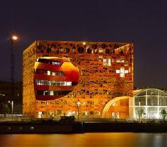 The Orange Cube design showroom in Lyon, France. Nighttime lighting.