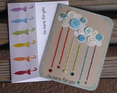 Fun cards with rainbow colors - LOVE the buttons on the clouds!