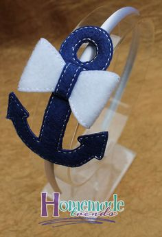 Nautical Anchor Bow- Anchor Headband-Navy Anchor Bow-Nautical Accessory-Navy 3D Felt Bow-Nautical Headband-Anchor Hair Bow-Sailing Hair Bow