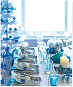 Pretty blue and silver tablescape.