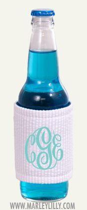Monogrammed Pink Seersucker Can or Bottle Drink Jacket