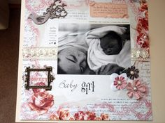 Baby Girl Scrapbook Ideas Baby Girl Scrapbook, Baby Scrapbook Pages, Vintage Scrapbook, Scrapbook Cards, Scrapbooking 101, Scrapbook Background, Baby Memories, Creative Memories, Baby Crafts