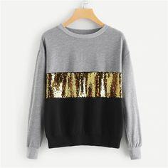 SHEIN Multicolor Contrast Cut und Sew Sequin Sweatshirt Casual Colorblock Langarm Pullover Damen Her Hoodie Sweatshirts, Sweatshirts Online, Athleisure, Sweat Cool, Streetwear, Pullover Mode, Moda Plus Size, Cool Hoodies, Sweater Fashion