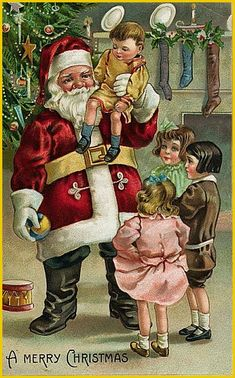 fete noel vintage gifs images - Page 45 Images Noêl Vintages, Images Vintage, Vintage Christmas Images, Christmas Pictures, Vintage Cards, Christmas Postcards, Father Christmas, Christmas And New Year, Christmas Things