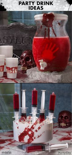 "Throw a bloody good Halloween party with Party City! Begin by filling a clear beverage dispenser with a scarlet drink of your choice. Next  create some creepy hands out of ice using our hand mold. Then  give your guest a healthy dose of mystery ""medicine"" with Party Shooter Syringe Shots. Complete the look with bloody handprint gel decorations and blood-spattered plastic cups."