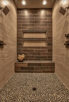 Master Bathroom shower design with pebble tile floor and bench. via Houzz House Bathroom, Master Shower, Dream Bathrooms, Small Master Bathroom, Master Bathroom Shower, Bath Design, Bathroom Remodel Master, Transitional Bathroom, Tile Bathroom