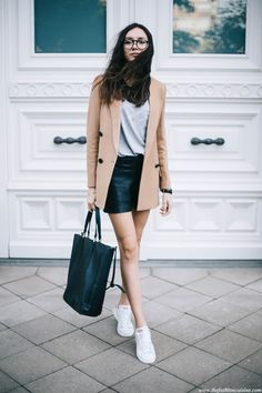 Leather Shorts with Camel Blazer • The Fashion Cuisine