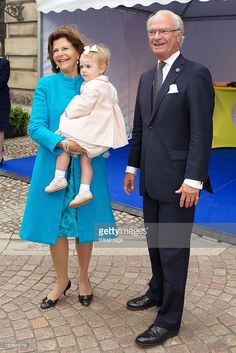 Queen Silvia of Sweden, Princess Estelle of Sweden and King Carl XVI Gustaf of Sweden attend the City Of Stockholm Celebrations during King Carl Gustaf's 40th Jubilee on the throne at The Royal Palace on September 15, 2013 in Stockholm, Sweden.