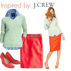 """""""Inspired By: J. Crew"""" by heather-del-palacio on Polyvore Red Skirt Outfits, Red Skirts, Work Outfits, Blue Oxford Shirt, Putting Outfits Together, Got The Look, Pencil Skirts, Spring Summer Fashion, Work Wear"""