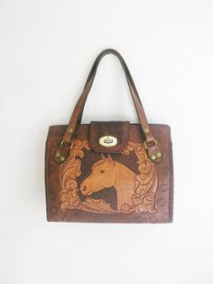 Vintage Tooled Leather Equestrian Purse
