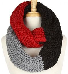 Black Red and Gray Infinity Scarf