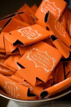 Orange Wedding Favor Koozies