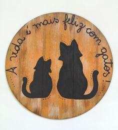 Mandala em MDF pintada à mão 31 cm de diâmetro Love Pet, I Love Cats, Cute Cats, Wicca Witchcraft, Pagan Witch, Cat Signs, Gatos Cats, Arte Popular, Wal