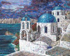 Мозаичная картина Белые храмы Санторини