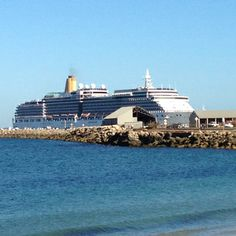Cruise liner docking in Fremantle. View from Bathers Beach, Fremantle, WA Western Australia, South Beach, San Francisco Skyline, Travel Guide, Cruise, Surfing, Swimming, Swim, Surf