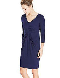 Midnight Tab Front Drop Pocket Shift Dress with StayNEW™ available in 3 lengths
