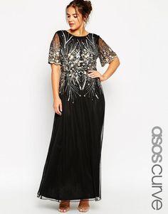 ASOS CURVE Plus Size RED CARPET Gold&Black Sparkle Mesh Maxi Dress UK 22/EU 50