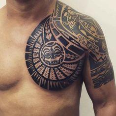 Maori Chest Chest Tattoo Designs by Janser #maoritattoosbrazo