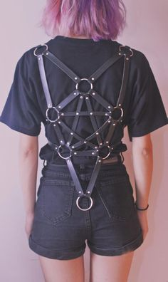 Men Women Handmade Star Pentacle Harness Leather Body Cage Sculpting Costume Bon | eBay