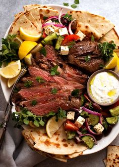 Greek Butterflied Lamb Leg on a platter, ready to be shared Quick Summer Meals, Quick Easy Dinner, Easy Dinner Recipes, Easy Meals, Lamb Recipes, Greek Recipes, New Recipes, Cooking Recipes