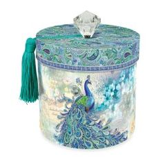 This would make quite a pretty gift box, but it's offered as Punch Studio Paisley Peacock Toilet Tissue Holder Peacock Bathroom, Peacock Room, Peacock Decor, Peacock Colors, Peacock Art, Peacock Theme, Peacock Design, Peacock Blue, Peacock Feathers