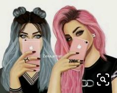 Me and bff Best Friend Drawings, Tumblr Drawings, Girly Drawings, Girly M, Best Friend Pictures, Bff Pictures, Friends Sketch, Sarra Art, Cute Girl Drawing