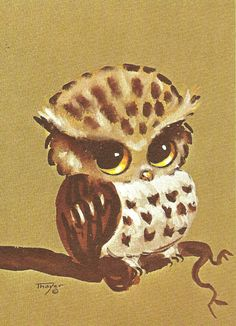 Owl Watercolor 5 x 7 print by artist Lois Mae Thayer, available on Etsy via TutusAtticLasVegas