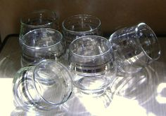 Triple Silver Band Cordial Glasses by theevintageshop on Etsy, $30.12