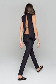 backless top with pants