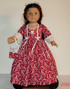 COLONIAL CHRISTMAS DRESS FITS AMERICAN by MargaretteDesigns4AG
