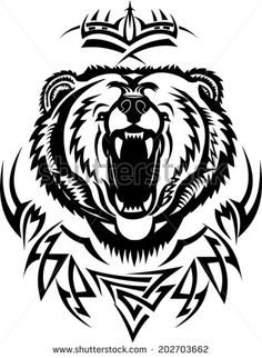 Stock Images similar to ID 67276150 - roaring bear head. all in a...