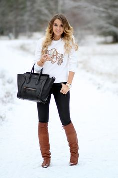 Black jeans and brown boots
