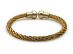 Decorative Stainless Steel Cuff Bracelet CZ Endcap Bangle