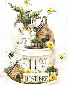I hope everyone had a wonderful weekend! With all of the new bee items out this year it inspired me to put together this… Bee Crafts, Diy Home Crafts, Wood Crafts, Bee Creative, Tiered Stand, Bee Theme, Tray Decor, Seasonal Decor, Farmhouse Decor