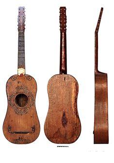 Planos de la vihuela. Instrumento del siglo XVI, con 6 cuerdas, antepasado de la guitarra actual.