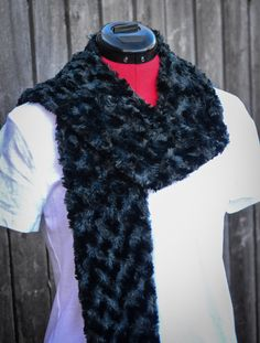 Faux Fur African Mongolian Fur Grey/Black by ScarftasticCreations