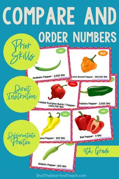 Step by step tips for teaching how to compare and order numbers to 1 million. Read how on Shut the Door and Teach. Upper Elementary Resources, Elementary Math, Ordering Numbers, Math Task Cards, Fourth Grade Math, Fun Math Games, Common Core Math, Teacher Blogs, The Hundreds