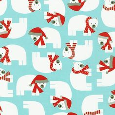 Polar Bear with Red Scarf on Aqua Fabric - Jingle 3 by Ann Kelle from Robert Kaufman. Christmas or Holiday fabric. AAK-15267-70 by SouthernStitchFabric on Etsy https://www.etsy.com/listing/255727064/polar-bear-with-red-scarf-on-aqua-fabric