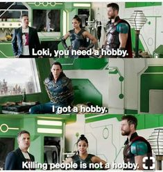 Loki and Thor and Valkyrie and Banner Marvel Quotes, Funny Marvel Memes, Dc Memes, Avengers Memes, The Avengers, Funny Memes, Loki Quotes, Marvel Films, Marvel Dc Comics