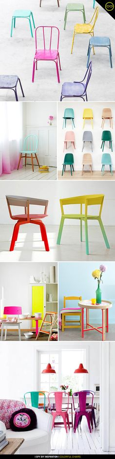 Yes to neon spray paint on everything! These colorful chairs are awesome Design Furniture, Furniture Projects, Furniture Makeover, Painted Furniture, Diy Furniture, Painted Chairs, Painted Tables, Decoupage Furniture, I Spy Diy