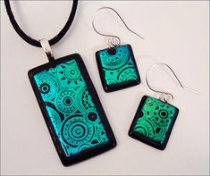 Dichroic glass jewelry set pendant earrings  by YmirGlassDesign