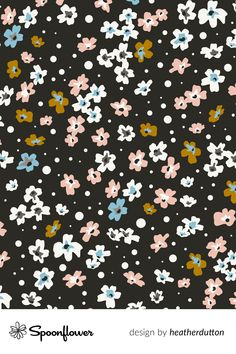Customize your own home decor, wallpaper and fabric at Spoonflower. Shop your favorite indie designs on fabric, wallpaper and home decor products on Spoonflower, all printed with eco-friendly inks and handmade in the United States. #Boho #Floral #Meadow #Black #pattern #textilpattern #digitalprinting Stoff Design, Spoonflower, Boho, Textile Patterns, Flower Prints, Watercolor Flowers, Custom Fabric, Diy Wedding, Digital Prints