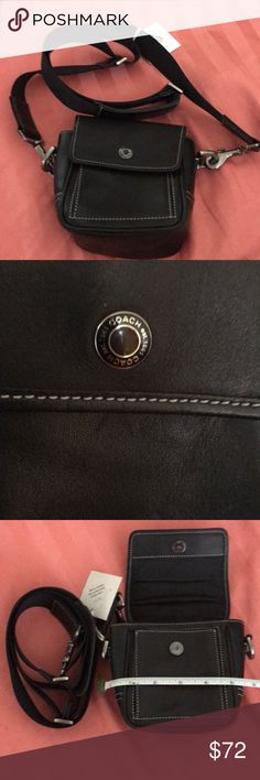 Authentic Coach leather crossbody bag Super soft leather Coach crossbody bag. Gently used. Strap is adjustable and detachable, and bag has a loop on the back so you can wear it as a waist bag with strap or with your own belt. Snap closure is magnetic, and there is a pocket under the flap. Please see photos for size. Purchased online where authenticity was verified. I will leave that tag attached. It really is a lovely little bag :) Coach Bags Crossbody Bags