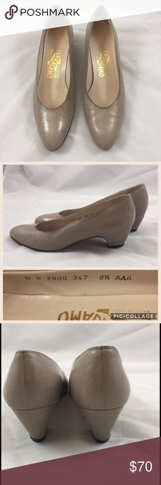 Salvatore Ferragamo Sz 8.5 AAA Tan Heels Classic tan dress shoes. Great pre-loved condition. Shoes have a few Mark's on the heels, but not very noticeable (please see pictures) Offers welcomed 💘 Salvatore Ferragamo Shoes Heels