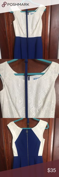 Antonio melani dress White and blue Antonio melani dress. Perfect for a business meeting or interview. Beautiful white lace on top and bright blue on skirt. Comes about knee length. Really comfortable. Only wore once for a job interview. ANTONIO MELANI Dresses Midi
