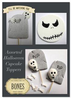Some cute little skeleton & bones cupcake decorations made from fondant. Horror Cake, Fondant, Cupcake Decorations, Skeleton Bones, Suga Suga, Cakes, Halloween, Cake Makers, Kuchen
